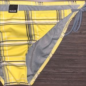 Hurley Yellow and Gray Plaid Bikini String Bottom